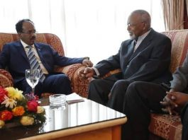 Photo: Somalia President Mohamed Abdilahi Mohamed meets with ONLF Admiral Mohamed Omar Osman in Asmara, Eritrea. Formerly, Admiral Osman was commander of the Somali navy and a member of the ruling revolutionary socialist party of Mohamed Siyad Barre. (Photo courtesy of @TheVillaSomalia)