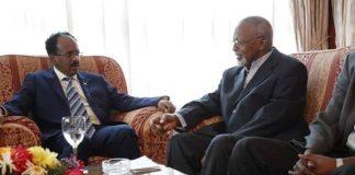 Photo: Somalia President Mohamed Abdilahi Mohamed meets with ONLF Admiral Mohamed Omar Osman in Asmara, Eritrea. Formerly, Admiral Osman was commander of the Somali navy and a member of the ruling revolutionary socialist party of Mohamed Siyad Barre. (Photo courtesy of @TheVillaSomalia)