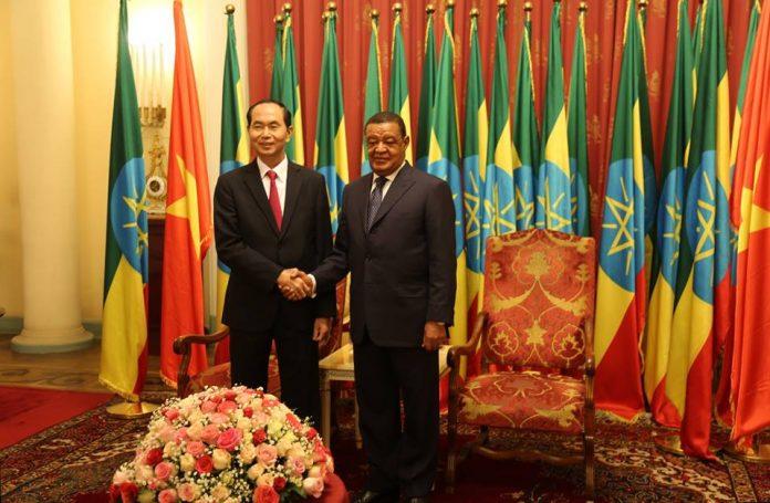 Ethiopian President Dr. Mulatu Teshome President Tran Dai Quang of Vietnam on Thursday (August 23)