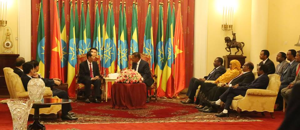 Ethiopian President Dr. Mulatu Teshome President Tran Dai Quang of Vietnam on Thursday (August 23)