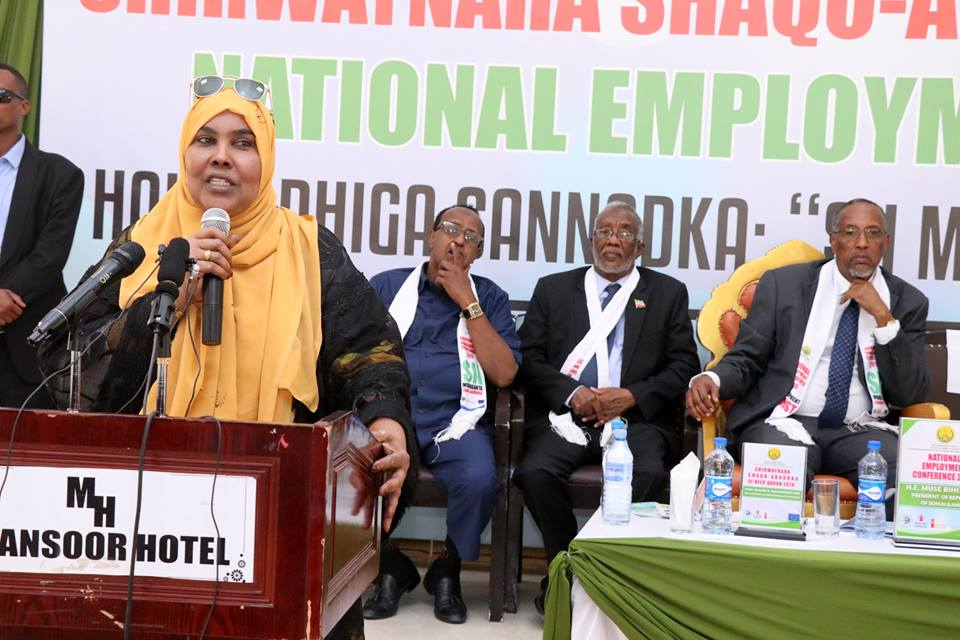 Somaliland Minister of Labor and Social Affairs Hindu Jama Gani speaking at the employment conference has Underlined on the finalization of the national employment policy.