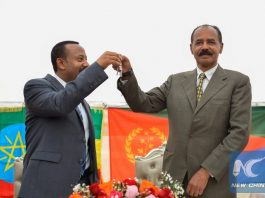 Eritrean President Isaias Afwerki (R) and Abiy Ahmed, Ethiopian Prime Minister are seen during the re-opening of the Eritrean Embassy in Addis Ababa, capital of Ethiopia, July 16, 2018.(Xinhua/Michael Tewelde)
