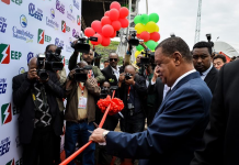 Ethiopian President Mulatu Teshome (front) cuts the ribbon during the inauguration ceremony of the Reppie waste-to-energy facility in Addis Ababa, Ethiopia, Aug. 19, 2018. Ethiopia's first waste-to-energy facility was inaugurated on Sunday in the presence of high-level Ethiopian and foreign dignitaries. The project, located in Addis Ababa, was constructed by China National Electric Engineering Co., Ltd. (CNEEC). (Xinhua/Michael Tewelde)