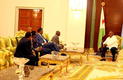 Djiboutian President Ismail Omer Guelleh receives Somalia,Ethiopia and Eritrea foreign minister at the presidential palace