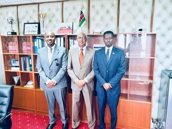 Photo Left Somaliland Ambassador to Kenya Bashe Awil Omer, Kenya's state minister of HealthDr Rashid AbdiAman , Right Somaliland Deputy Ambassador to Kenya Ayanle Salad Dire