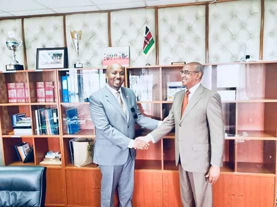 Kenya's state minister of Health Dr Rashid Abdi Aman receives Somaliland envoy to Kenya Amb. Bashe Awil Omer in his office