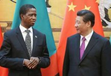 Zambia President Edgar Lungu with his Chinese counterpart Xi Jinping (Courtesy)