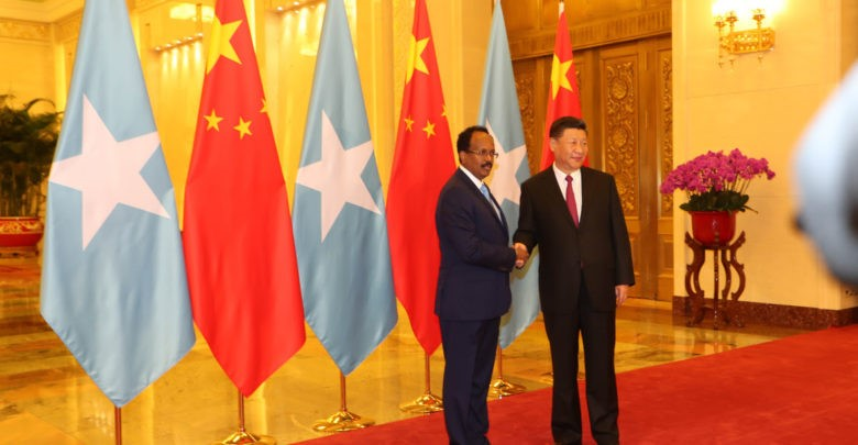 China's President Xi Jinping and President Mohamed Abdullahi Mohamed of Somalia