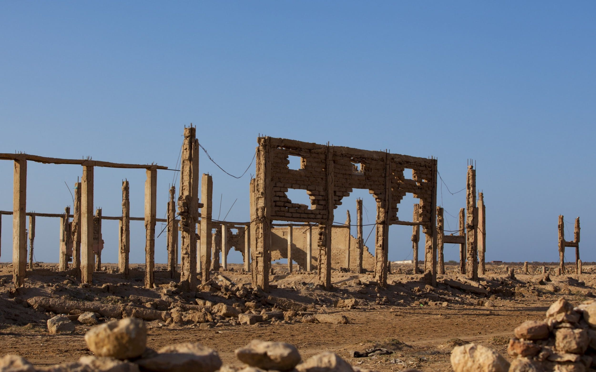 Ruins of building destroyed during civil war in Berbera, Somaliland CREDIT: GAMMA-RAPHO