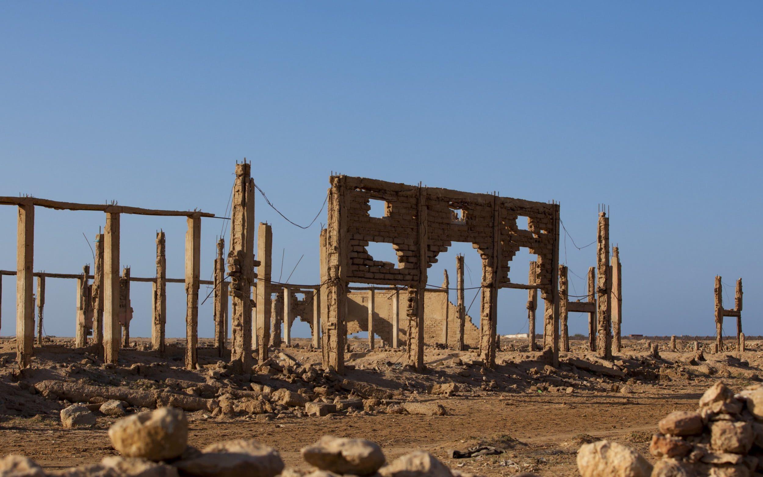 Ruins of building destroyed during civil war in Berbera, Somaliland CREDIT: GAMMA-RAPHO