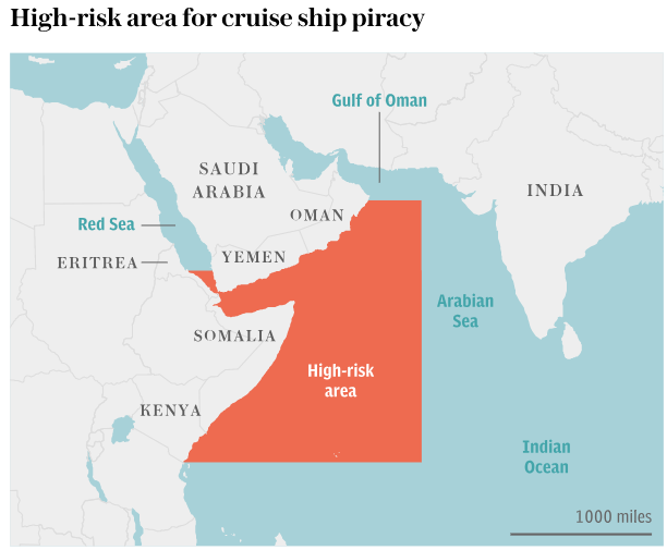 High risk area for cruise ship piracy map by The Telegraph