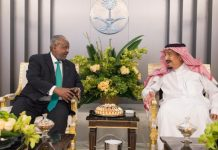 Custodian of the Two Holy Mosques King Salman bin Abdulaziz receives President of Djibouti Ismail Omar Guelleh in Riyadh (SPA)