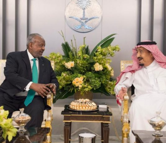 Custodian of the Two Holy Mosques King Salman bin Abdulaziz receives President of Djibouti Ismail Omar Guelleh in Riyadh (SPA)