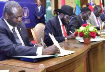 outh Sudan rebel leader Riek Machar and President Salva Kiir sign a power-sharing deal, August 5, 2018. Image: KagutaMuseveni/Twitter