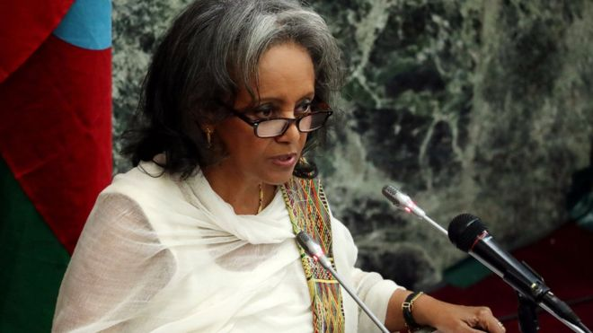 Sahle-Work Zewde promised to focus on gender equality and promoting peaceImage copyrightREUTERS