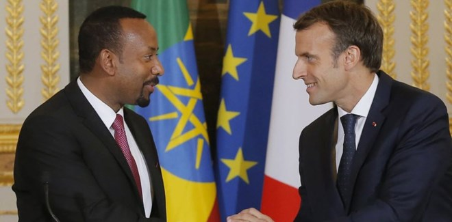 French President Emmanuel Macron has expressed support for Ethiopian Prime Minister Abiy Ahmed's ambitious reforms and diplomatic peace efforts.