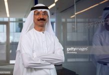 Sultan Ahmed Bin Sulayem, chief executive officer of DP World Ltd., poses for a photograph following a Bloomberg Television interview in Dubai, United Arab Emirates, on Sunday, May 1, 2016. DP World, the port operator with terminals from China to the Netherlands, expects a return to growth in some European markets after a period of stagnation and said its avoided a hard landing in China. Photographer: Razan Alzayani/Bloomberg via Getty Images