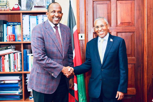 National Assembly Majority Leader Aden Duale (left) shakes hands with Somaliland Foreign Affairs Minister Saad Shire in Nairobi on October 25,2018. PHOTO | COURTESY