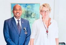 Somaliland envoy to Kenya Bashe Awil Omar (Left) pose for a photograph with the Danish ambsassadour to Kenya Mette Knudsen after their meeting at the Danish embassy in Nairobi. The two discussed about initiating talks to end the conflicts between Somaliland and Somalia/COURTESY