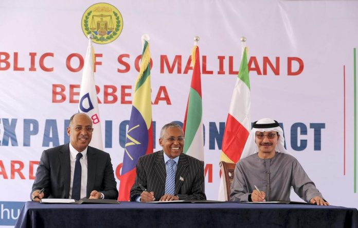 Left to Right - Abdu Shamakh Al Shebani , CEO , Shafa Al Wahda Contracting Company , Saad Ali Shire , Foreign Minister of Somaliland , Sultan Bin Sulayem , Chairman & Group CEO DP World during the Berbera Port Expansion contract awarding ceremony at the Presidential Palace in Hargeisa in Somaliland.