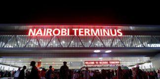 "Red neon announces the ""Nairobi Terminus"" at the Chinese-financed Standard Gauge Railway station in Kenya's capital. Thomas Mukoya/Reuters"