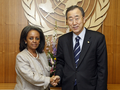 Secretary-general Ban Ki Moon presides over the swearing in ceremony for Mrs, Sahle-Work Zewde, newly appointed Director General of United Nations Office in Nairobi, Nairobi, Kenya 1 April, 2011