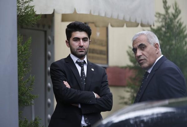 Security guards stand outside Saudi Arabia's consulate in Istanbul, Friday, Oct. 19, 2018. (AP Photo/Lefteris Pitarakis)