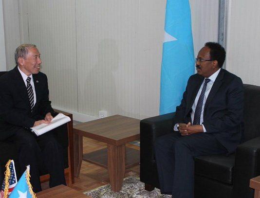 "U.S. Ambassador Donald Y. Yamamoto's presentation of credentials to President of the Federal Republic of #Somalia Mohamed Abdullah Mohamed ""Farmaajo"" on November 17, 2018 in Mogadishu"