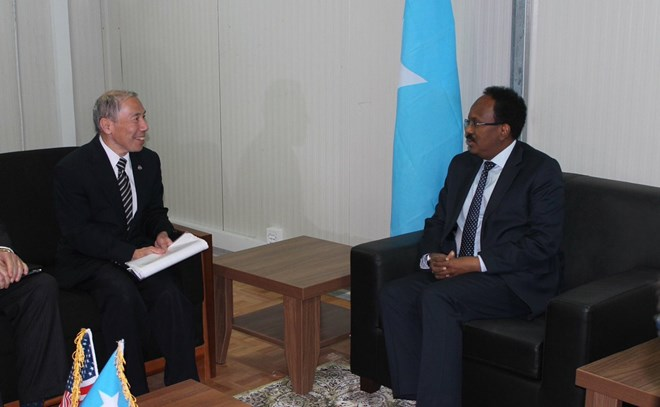 U.S. Ambassador Donald Y. Yamamoto's presentation of credentials to President of the Federal Republic of #Somalia Mohamed Abdullah Mohamed