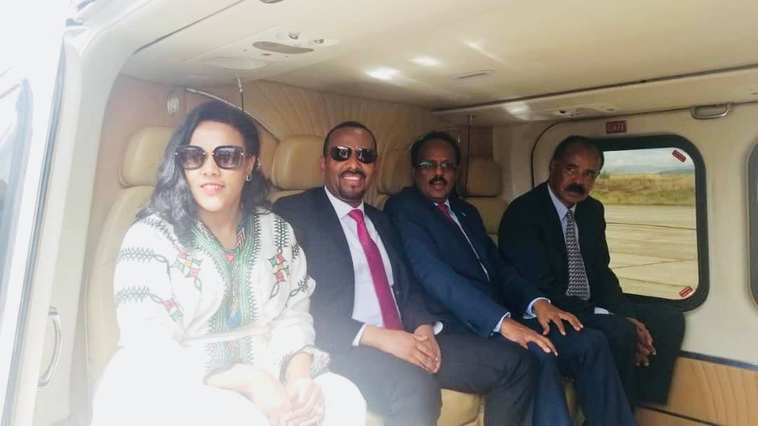 Ethiopian Pm Abiy Ahmed and Presidents of Eritrea and Somalia have continued their visit to Dembia Woreda to visit an irrigation Project.