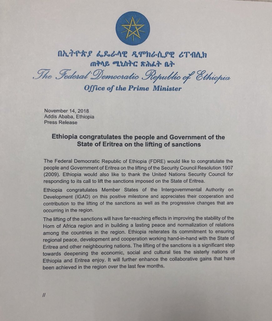 Ethiopia congratulates the people and Government of the State of Eritrea on the lifting of sanctions