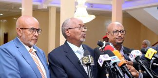 Somaliland political leaders and he vice president speaking before the discussion failed