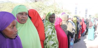 Photo: Women queueing to cast their votes in November 2017 presidential election Photo credit: Barkhad M Kaariye