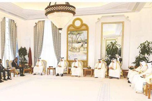 the Prime Minister and Minister of Interior Sheikh Abdullah bin Nasser bin Khalifa al-Thani and Prime Minister of Somalia Hassan Ali Khayre holding talks yesterday.