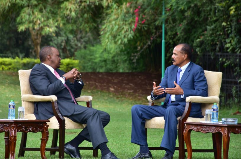 President Isaias held discussion with President Uhuru Kenyatta at the Nairobi National Palace on strengthening bilateral relations and regional developments of interest to the two countries.