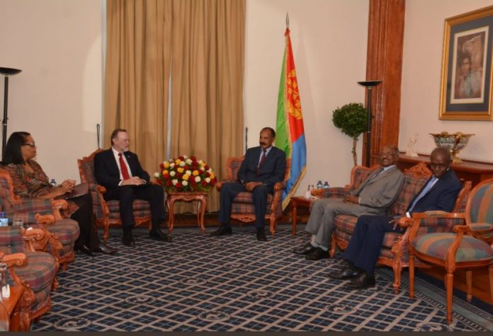 Eritrean President Isaias Afwerki received and held talks yesterday, 4 December at Denden Hall with the US Assistant Secretary for African Affairs, Mr. Tibor Nagy.