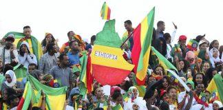 Ethiopia fans at the Standard Chartered Dubai Marathon 2019.
