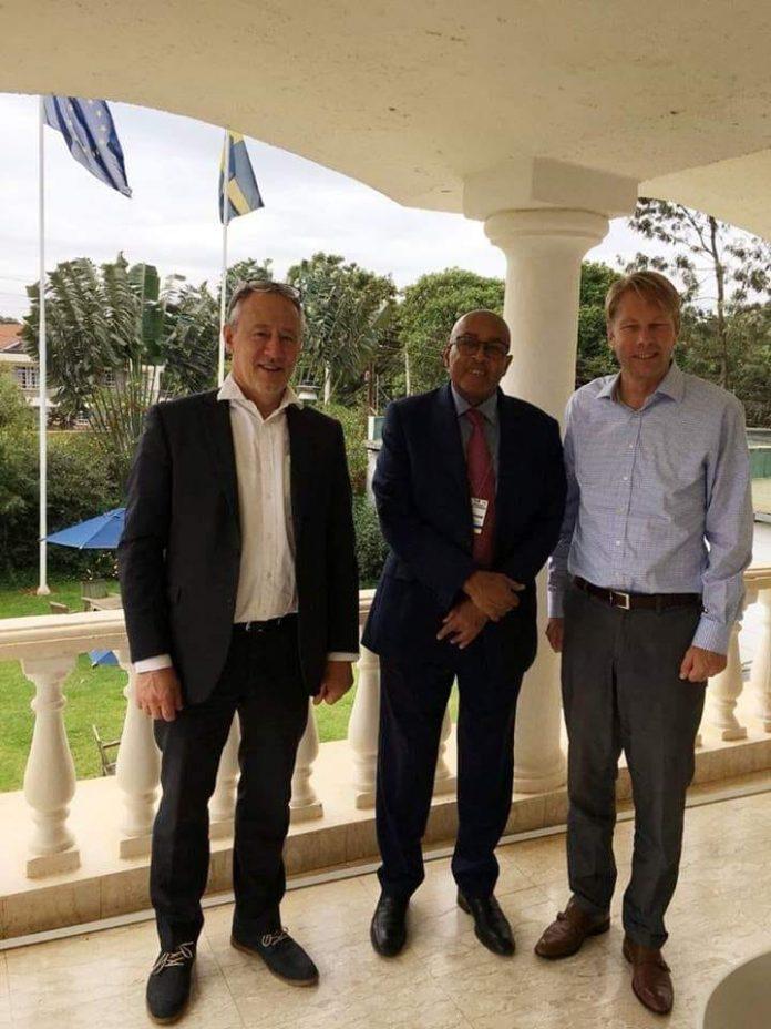 Somaliland largest opposition party Waddani chairman Abdirahman Mohamed Abdilahi AKA Irro meets with Swedish Ambassador to SomaliaAndreas von Uexkull Swedish
