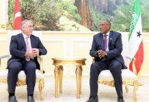Turkish Ambassador to Somalia Amb. Mehmet Yilmaz meets with Somaliland President Muse Bihi Abdi