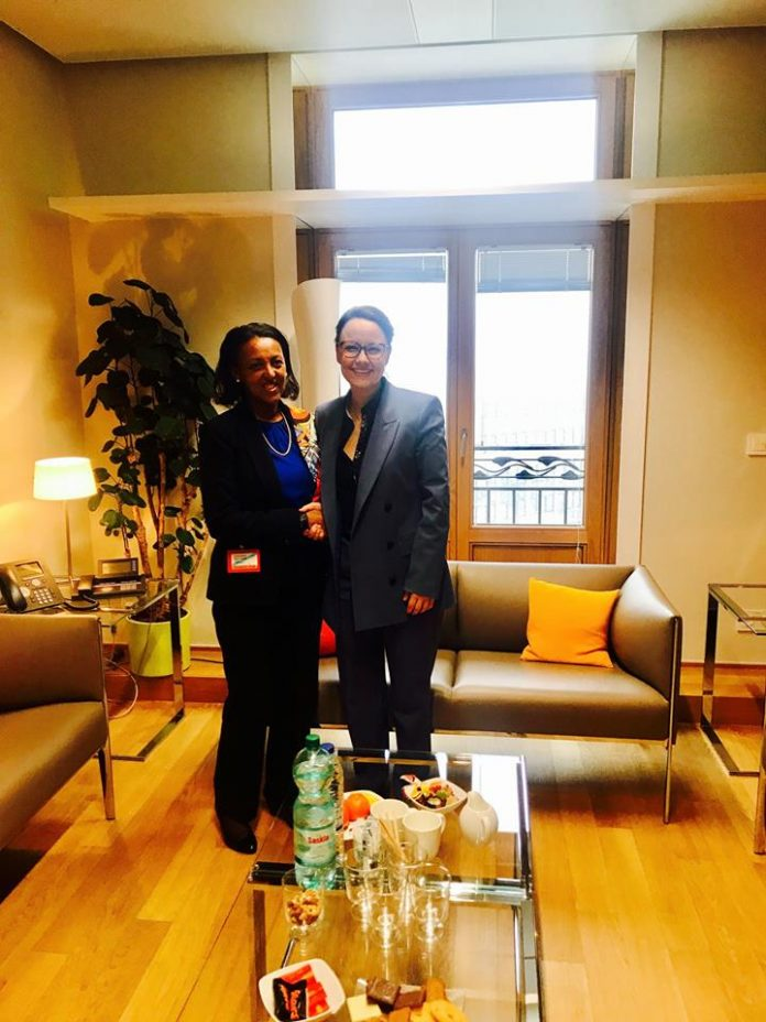 State Minister of Foreign Affairs, Mrs, Hirut Zemene met with the German Minister of State, Mrs. Michelle Muntefering later on Tuesday (January 22)