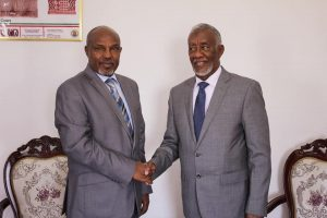 Somaliland FM Yasin Hagi mohamud Handshakes with Amb Shemsudin Ahmed, the newly appointed Consul General of the Consulate General of the Federal Democratic Republic of Ethiopia