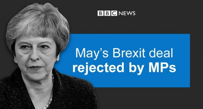 UK parliament overwhelming rejects Theresa May's Brexit deal https: