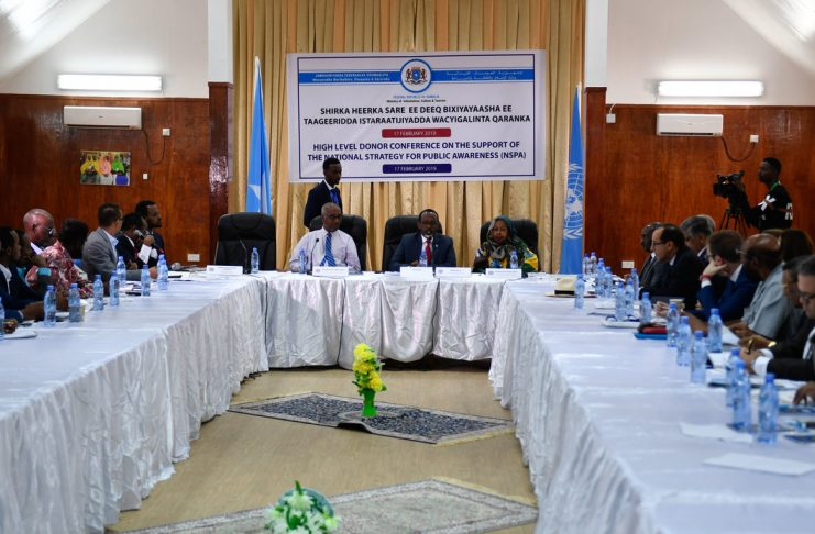 Representatives from the Somali Federal Government, Federal Member States, United Nations and the International Community attend a High Level Donor Conference on the Support of the National Strategy for Public Awareness held in Mogadishu, Somalia on 17 February 2019. UN Photo / Ilyas Ahmed