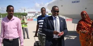 Somalia Ambassador to Kenya Mohamoud Ahmed Nur alias Tarzan has arrived today in the capital of Mogadishu,