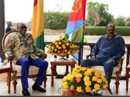 President Alpha Conde was awarded warm welcome by President Isaias Afwerki and other senior government officials.