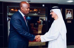 Somaliland Representative to Kenya Amb.Bashe Awil OMER handshakes DPWORLD CEO Ahmed Bin Suley