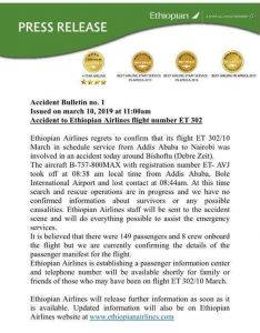 Ethiopia Airlines statement
