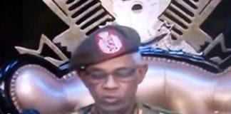 Sudanese Defense Minister Ahmed Awad Ibn Auf speaks on television on April 11. Source: Sudan TV