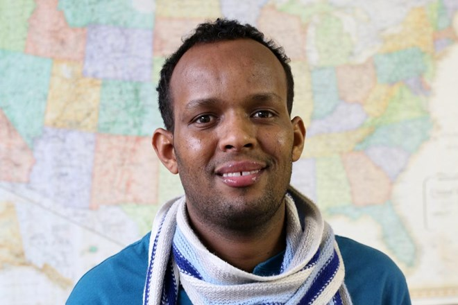 Isaak Mohamed is the first Somali refugee to run for city council in Barron, Wis. He came to the U.S. in 2013 after fleeing civil war in Somali and living in a refugee camp in Uganda. Rich Kremer/WPR