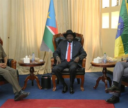 Eritrean President Isaias Afwerki, South Sudan's President Salva Kiir and Abiy Ahmed, prime minister of Ethiopia, attend a meeting in Juba, South Sudan on March 4, 2019 [Jok Solomun/Reuters]